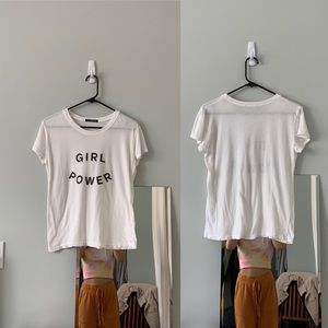 Last one!brandy melville gray cropped sammy girl power graphic tee top NWOT S//M